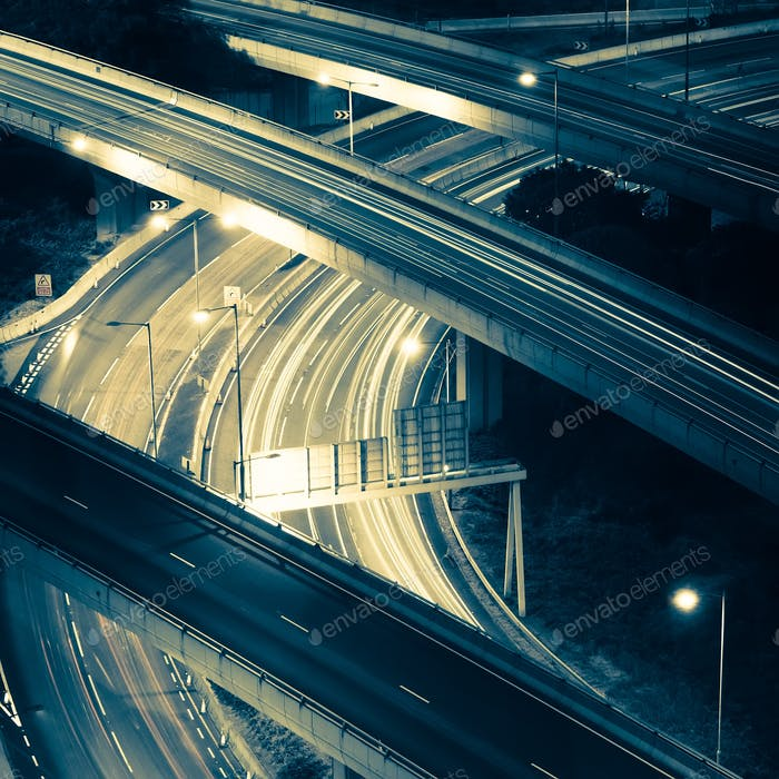 Abstract night view of highway interchange. Hong Kong city
