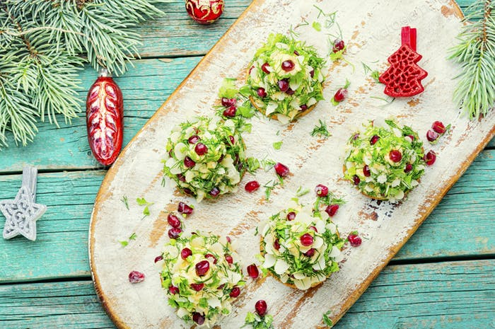Appetizing Christmas canapes.