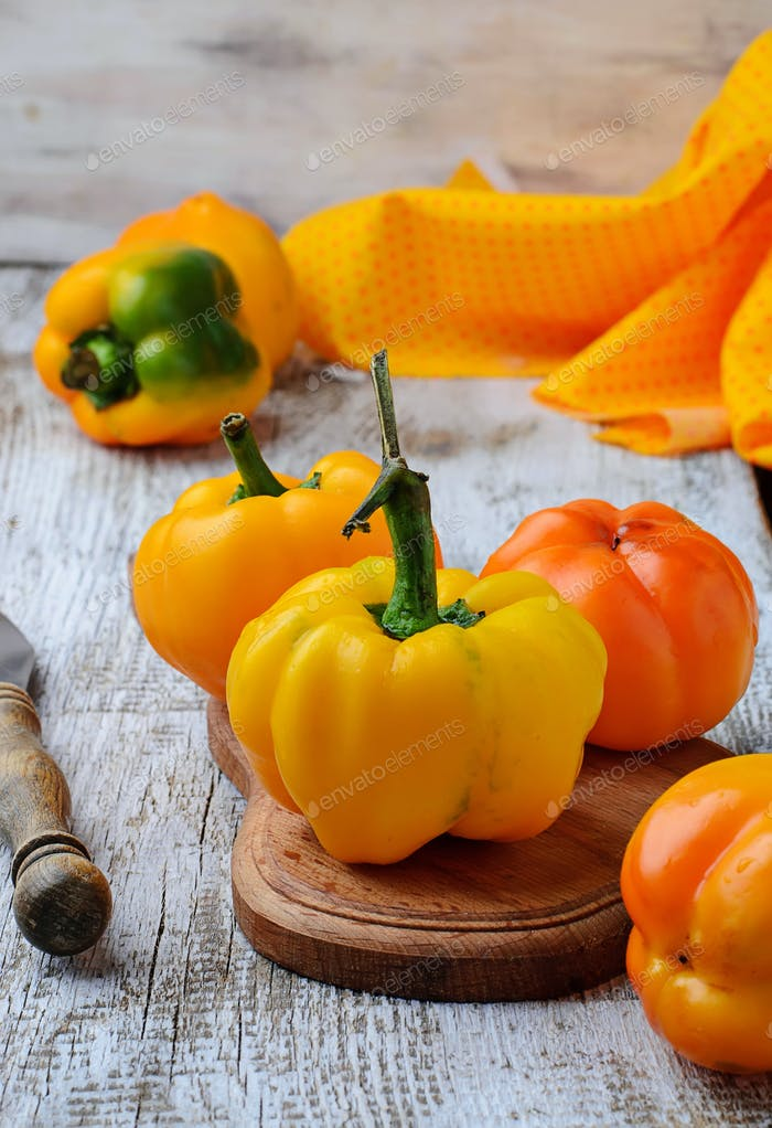 Fresh ripe yellow bulgarian pepper