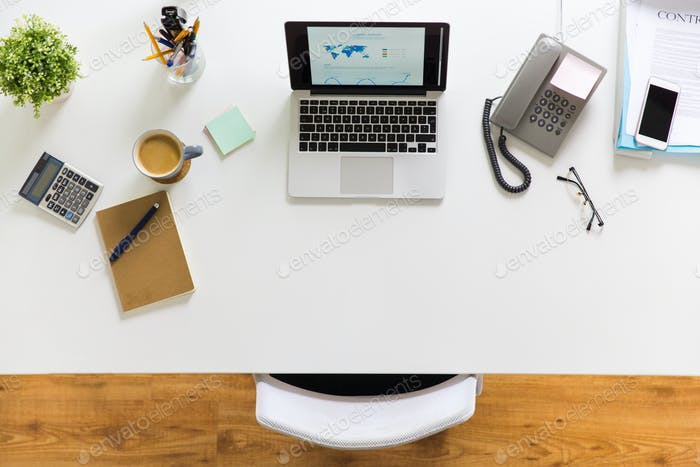 laptop, phone and other office stuff on table