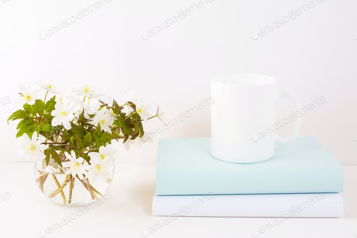 White mug mockup with Rue Anemone flowers
