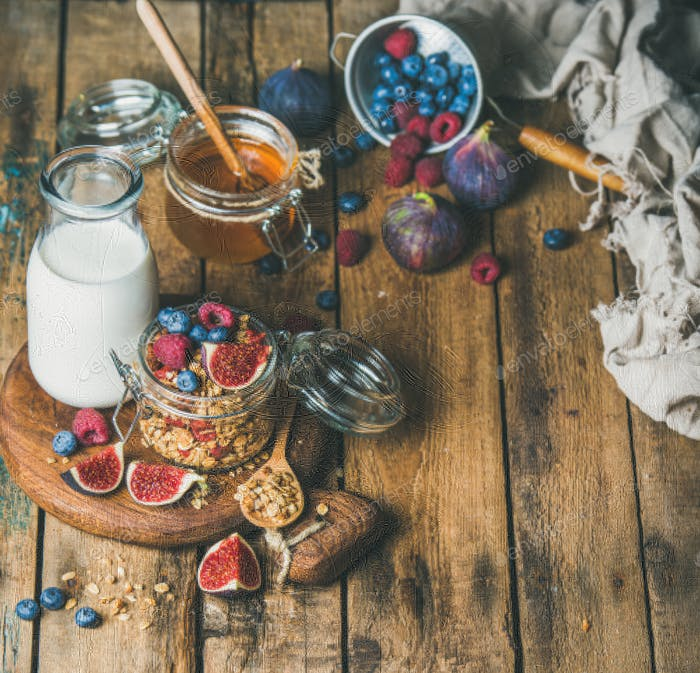 Vegetarisches Frühstück mit Haferflocken Müsli und Mandelmilch, Kopierraum