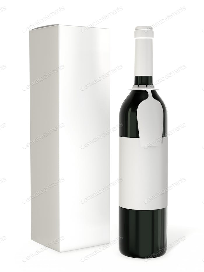 Wine bottle mockup with blank label