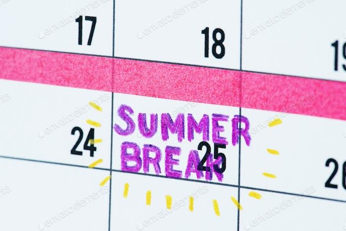 Summer break calendar reminder