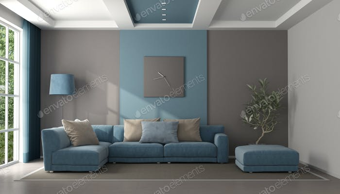 Minimalist blue and brown living room