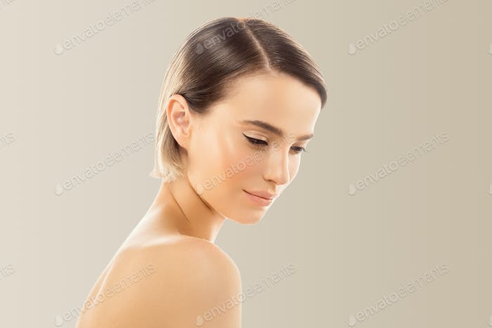 Clean Skin color lips. Blonde brunette short hair Skin Care Concept. Isolated on beige background