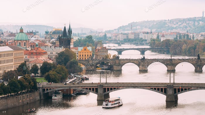 Cityscape Of Prague, Czech Republic. View Of The Charles Bridge.