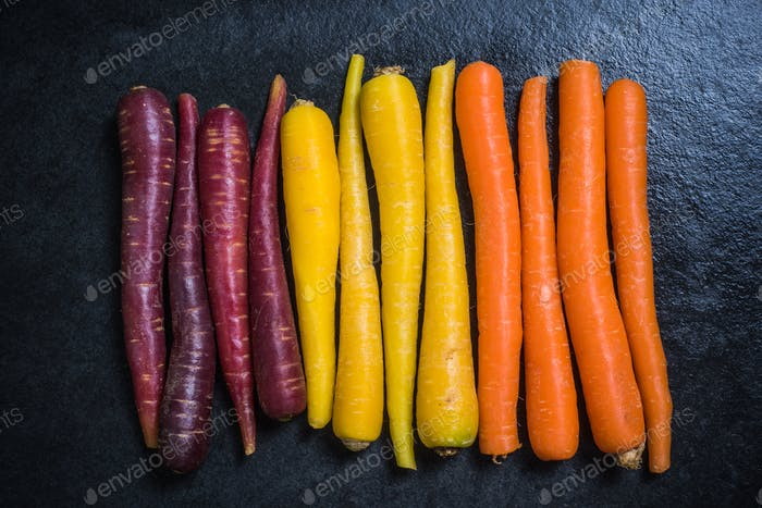 Rainbow carrots from above