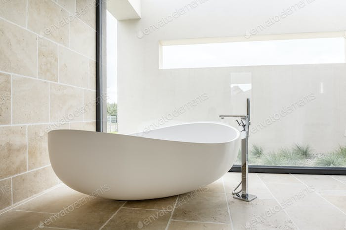 Modern white bathtub