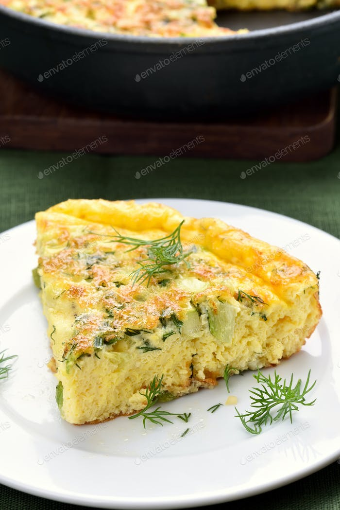 Omelette with cheese and zucchini