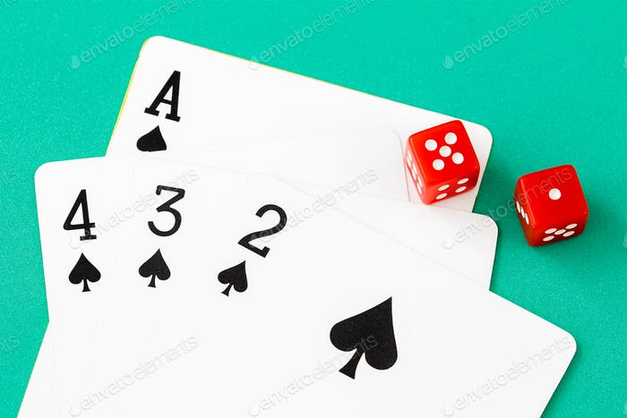 Dices and cards on green casino table-12