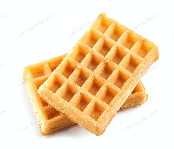 two waffles isolated on white background