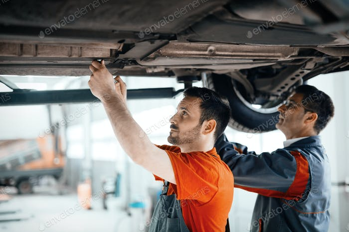 Car mechanic working at service center