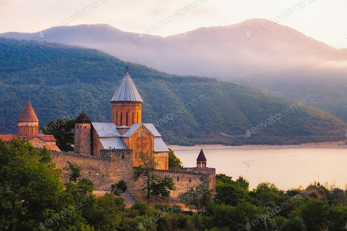 Scenic view of Ananuri fortress in Georgia