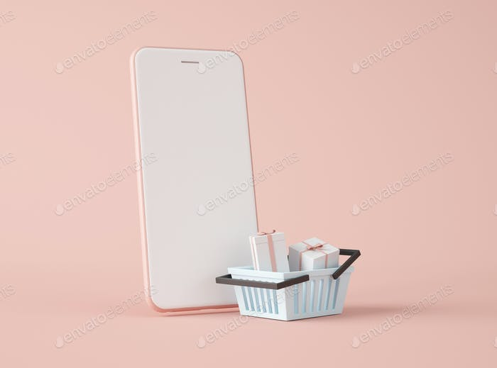 3D Illustration. Smartphone and shopping basket.