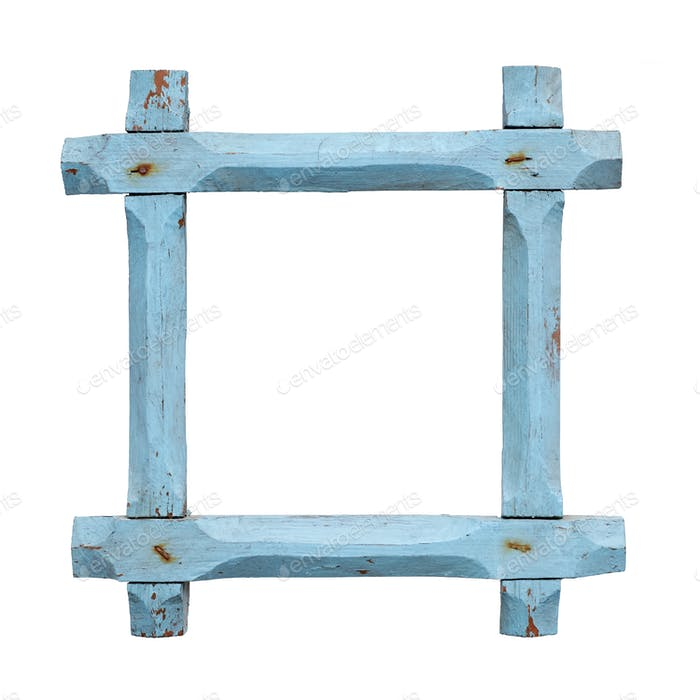 Old empty blue picture frame
