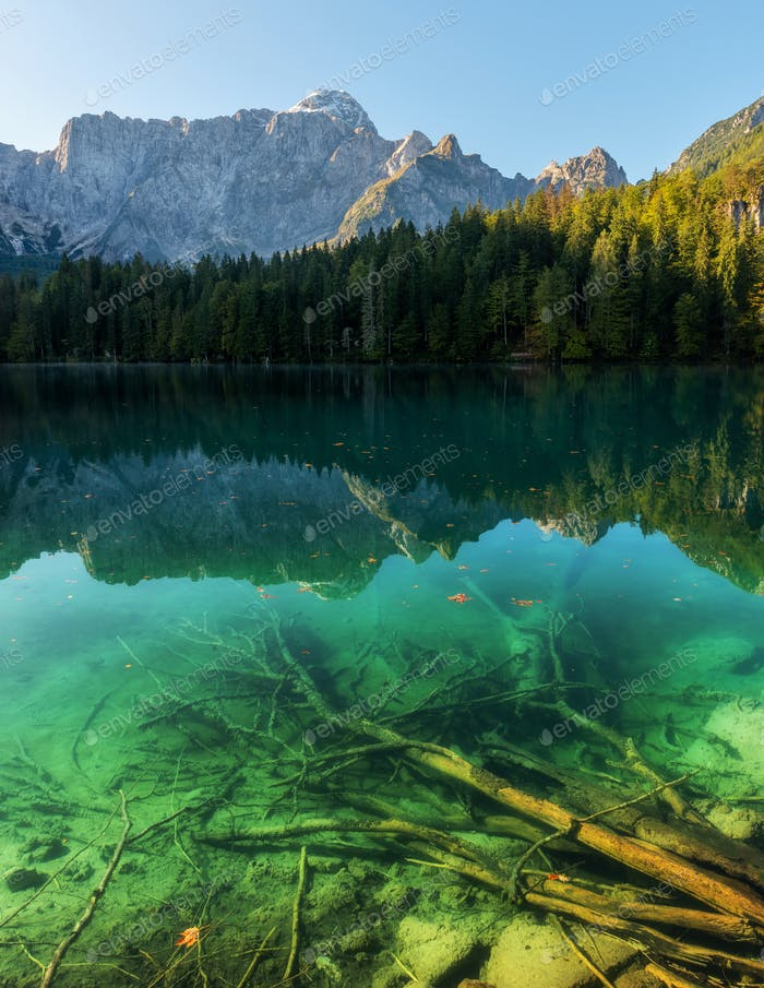 Early autumn morning at the Fusine Lake