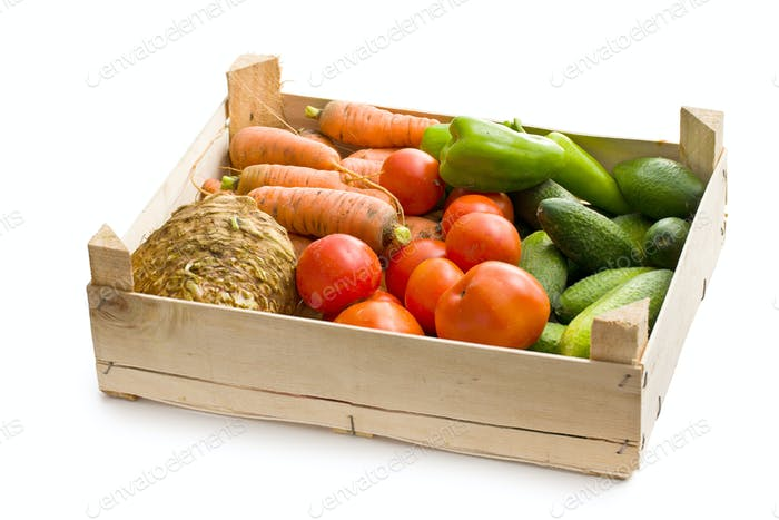 vegetable in wooden box