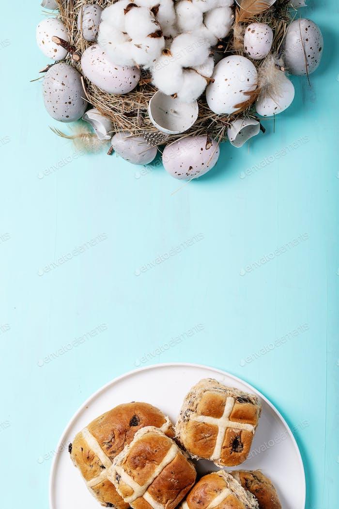 Traditional Easter treats cross buns
