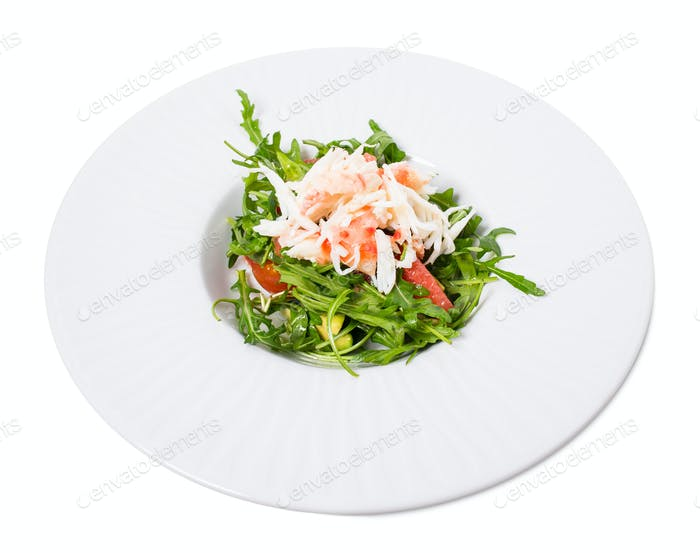 Snow crab salad with pomelo and arugula.