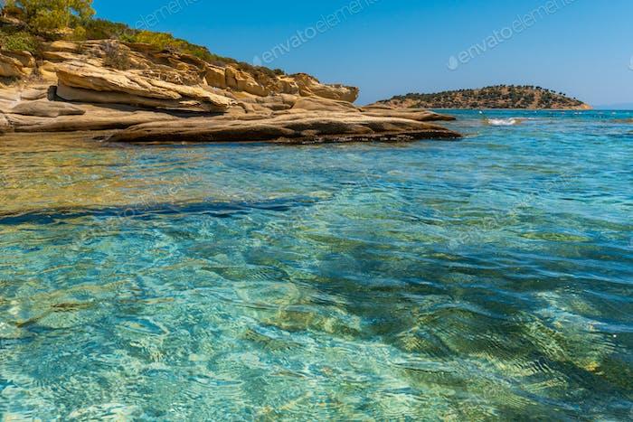 Rocky coast and sea in Greece