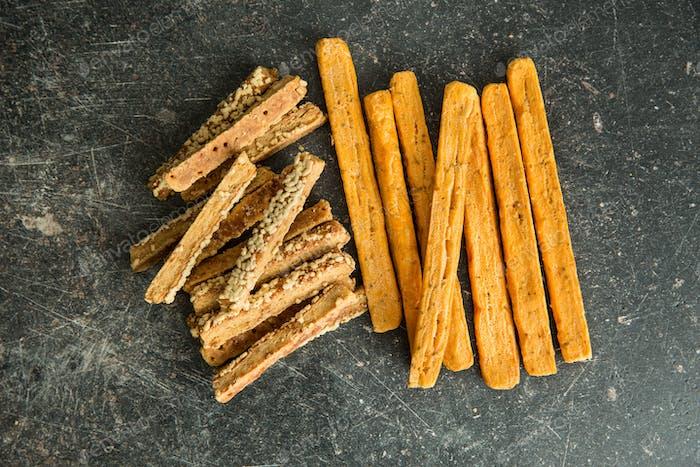 Crispy bread sticks.
