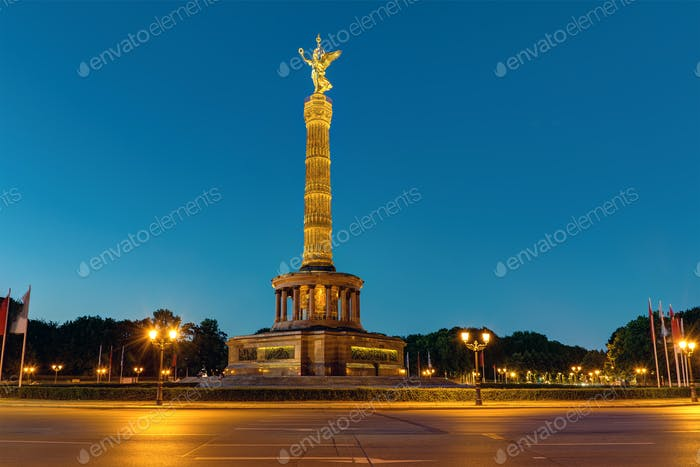The Victory Column in Berlin at night