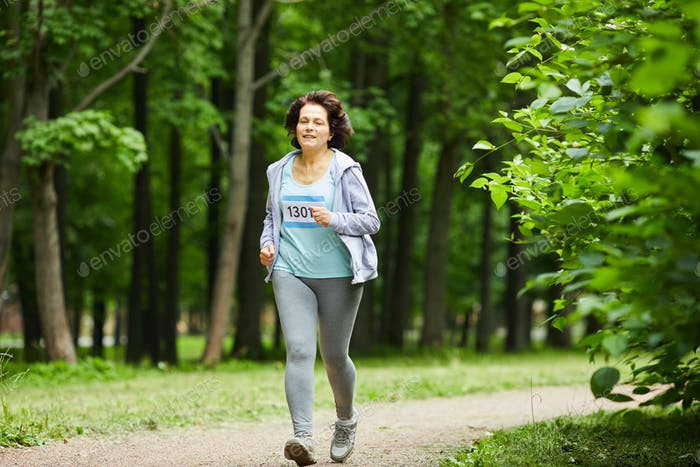 Mature Adult Woman Running