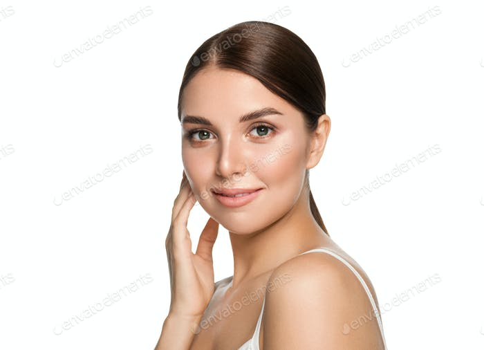 Healthy teeth smile woman clean skin natural makeup female portrait over gray background