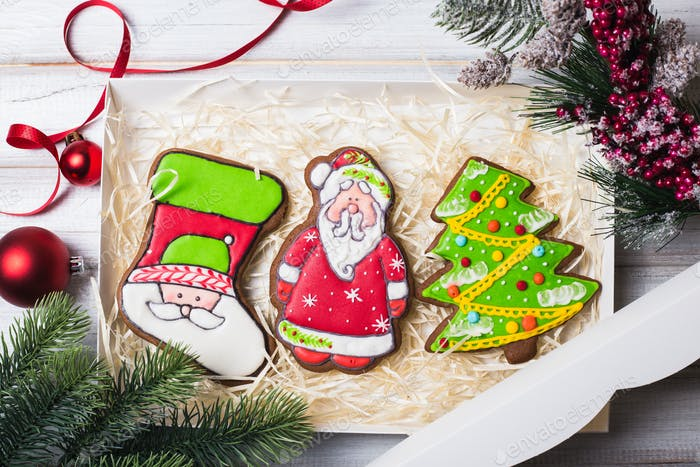Christmas gingerbread cookies baking background