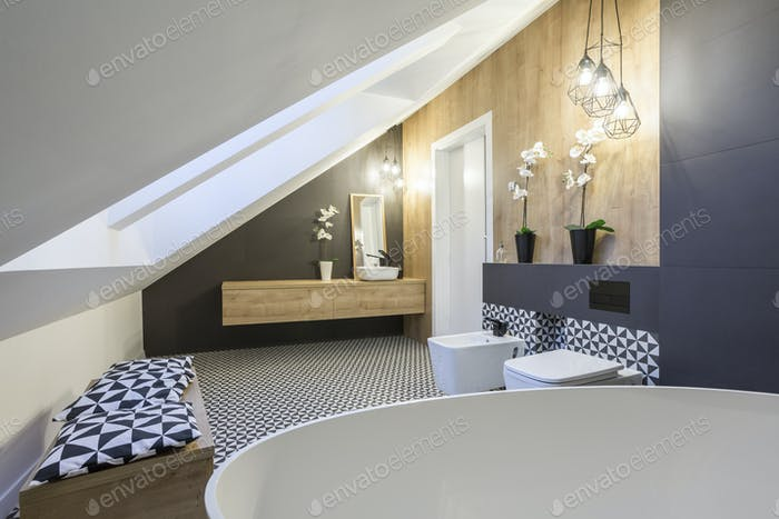 Modernly designed attic bathroom
