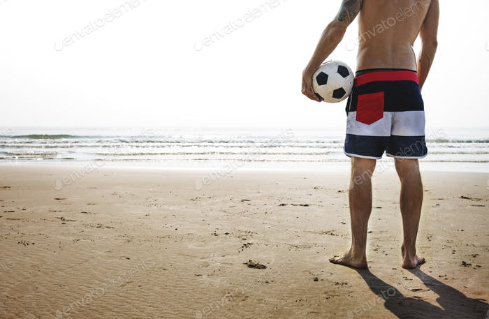 Man Beach Summer Holiday Vacation Volleyball Concept