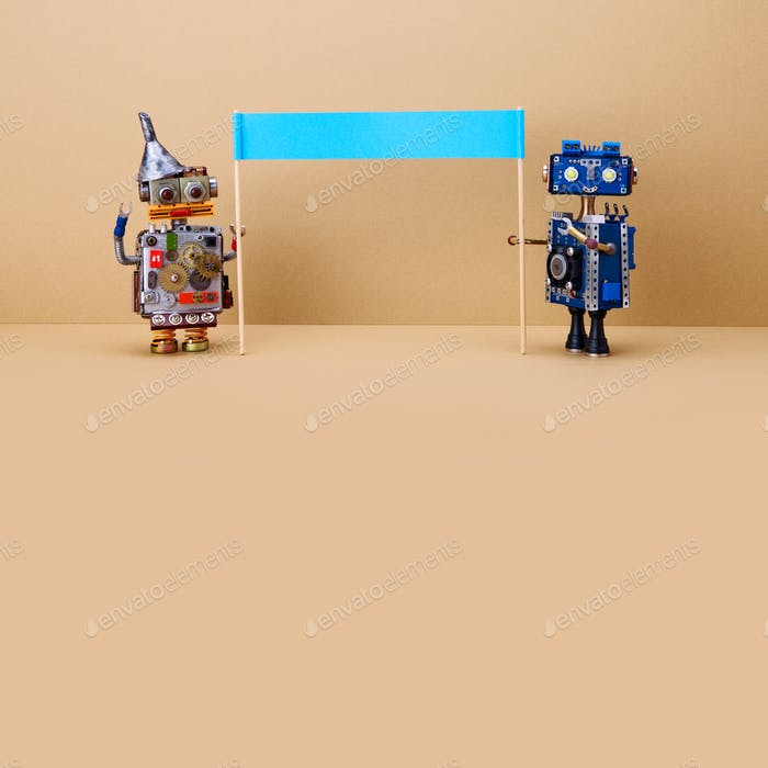 Robotics toys with a big banner on brown background.