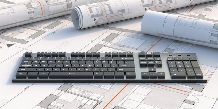 Computertastatur auf dem Hintergrund der Blaupause. 3D Illustration