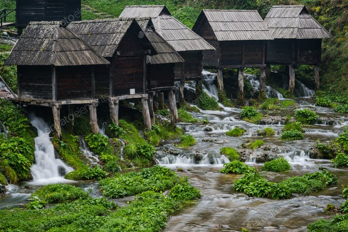 Old wooden waterills of Jajce on river, Bosnia and Herzegovina