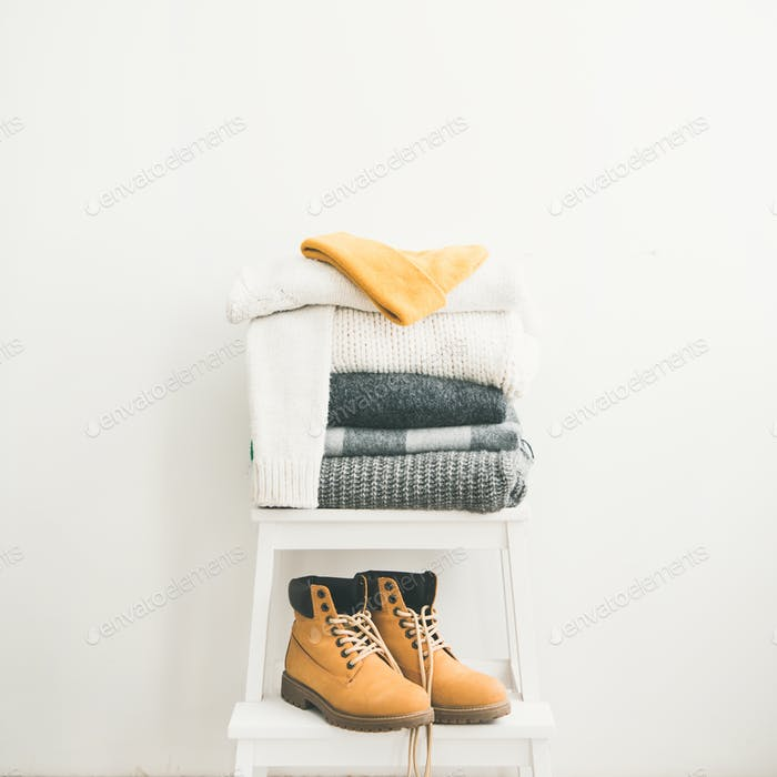Warm clothing, blankets, boots and cap for winter, square crop