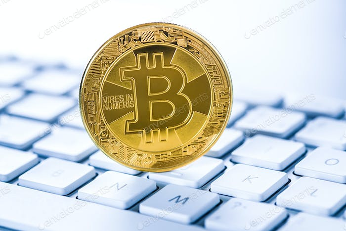 Golden coin bitcoin. Cryptocurrency concept.