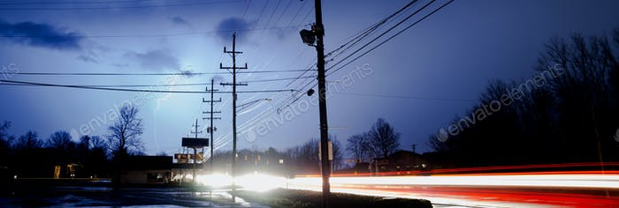 Natural Electricity Lightning Strike Behind Electrical Lines