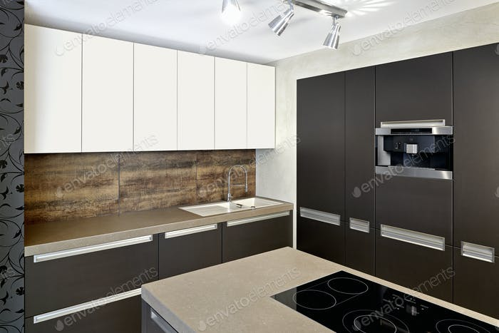 Counters and cabinets in modern kitchen