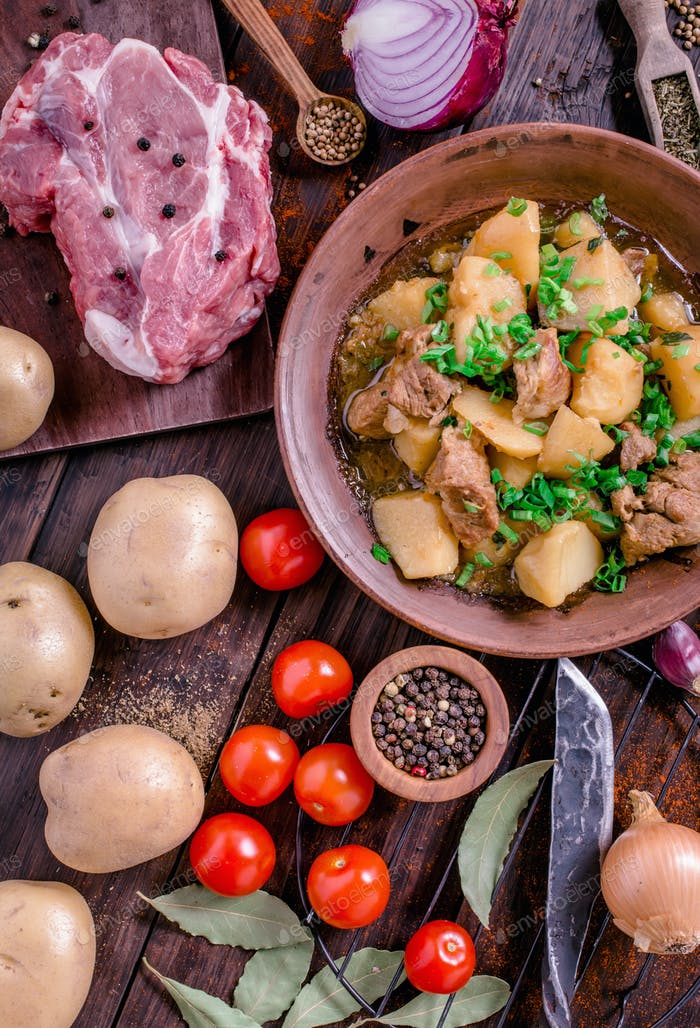 Spicy pork and potato stew rustic style