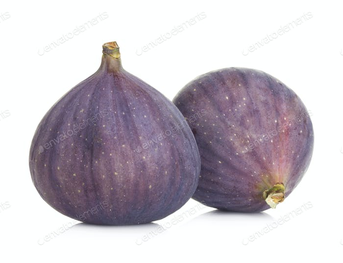 Ripe sweet figs fruits isolated on white background