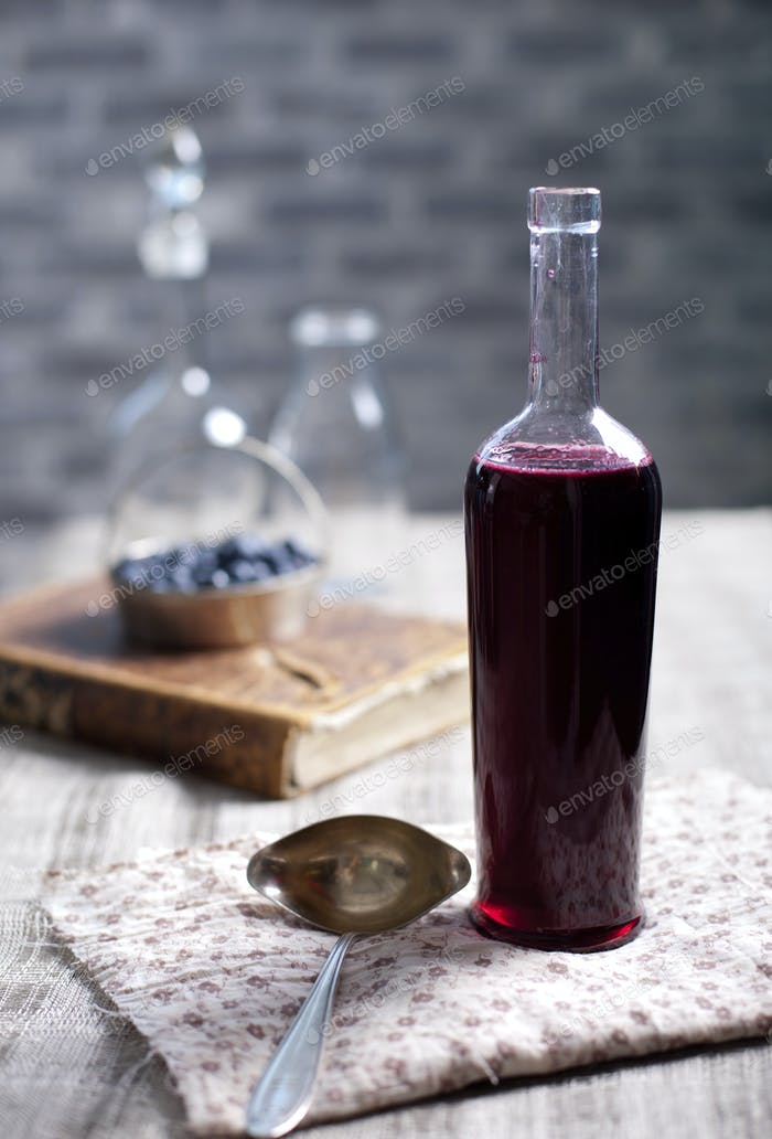 Berry Homemade Vinegar in Vintage Bottle