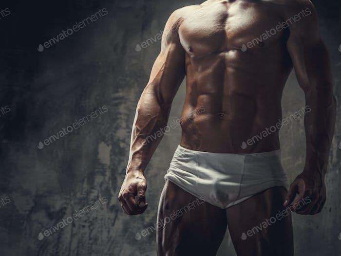 Muscular guy in white panties