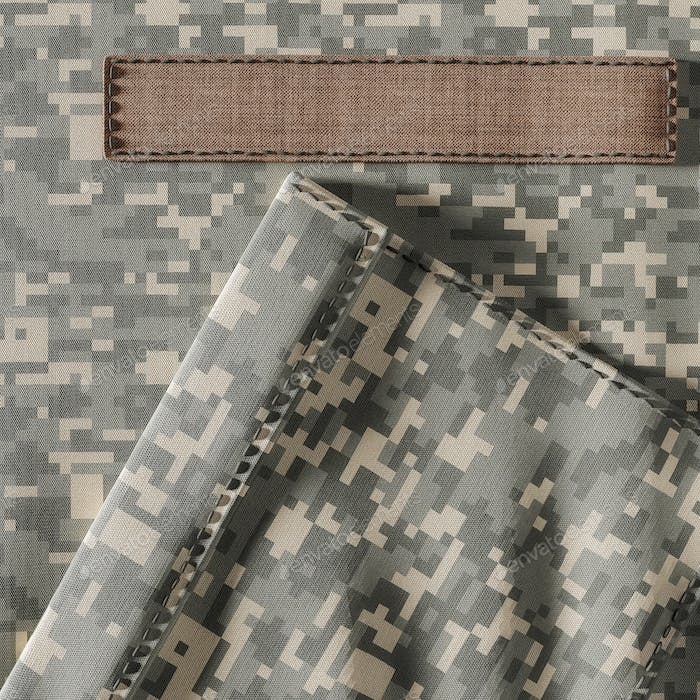 Closeup of Camouflage Uniform and Blank Name Patch
