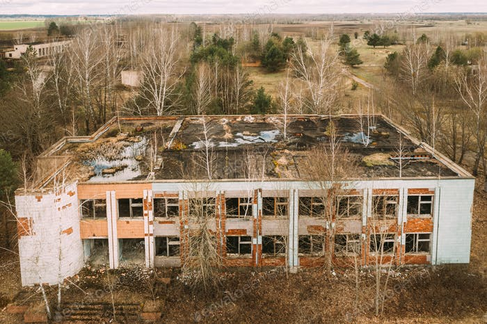 Belarus. Elevated View Of Abandoned Store In Chernobyl Zone. Chornobyl Catastrophe Disasters