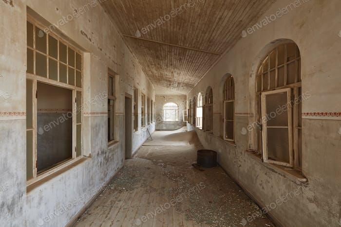 Corridor in an abandoned building.