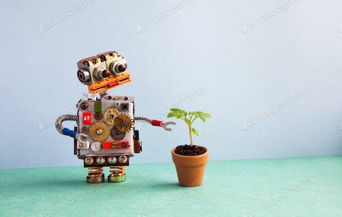 Robot and flowerpot.