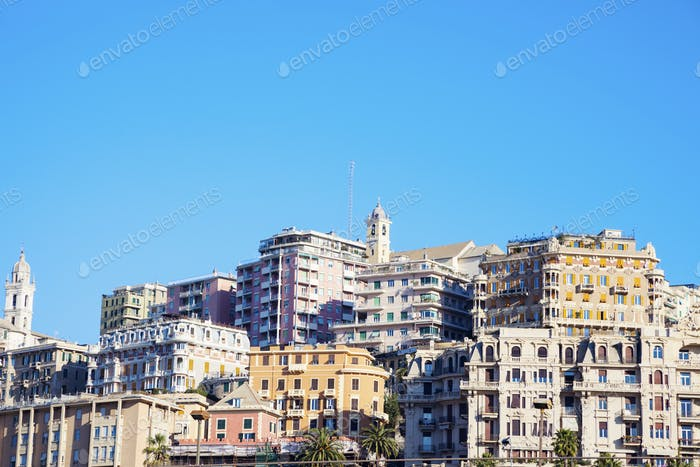 Genoa panorama in the morning