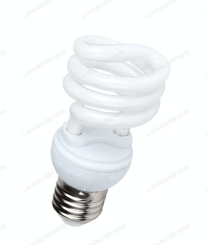 Fluorescent light bulb on white background
