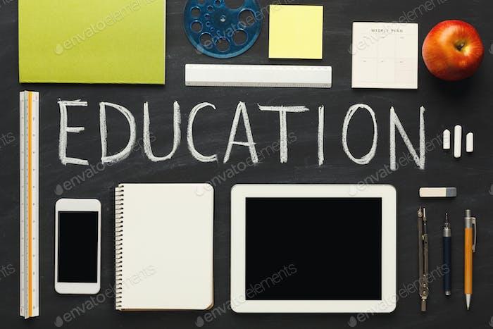 Word education written with chalk on blackboard